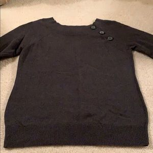 Dark gray scoop collar sweater 3/4 sleeves